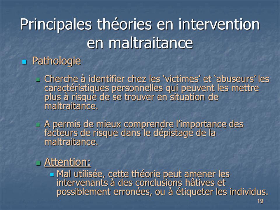 19 Principales théories en intervention en maltraitance Pathologie Pathologie Cherche à identifier chez les 'victimes' et 'abuseurs' les caractéristiq