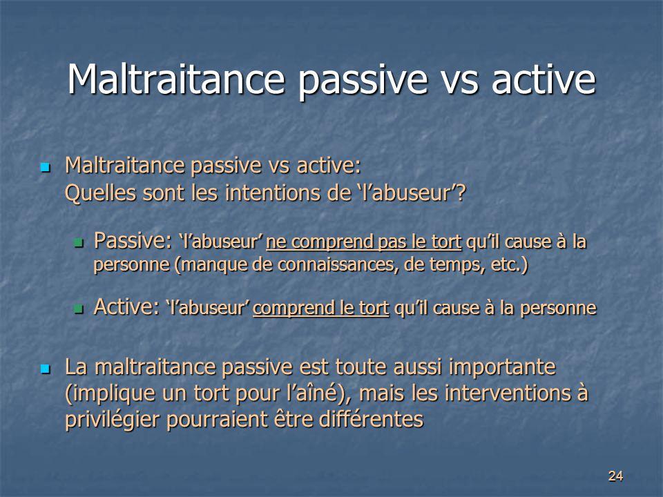 24 Maltraitance passive vs active Maltraitance passive vs active: Quelles sont les intentions de 'l'abuseur'? Maltraitance passive vs active: Quelles