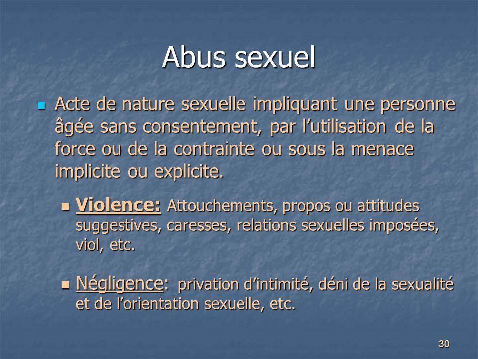 30 Abus sexuel Acte de nature sexuelle impliquant une personne âgée sans consentement, par l'utilisation de la force ou de la contrainte ou sous la me