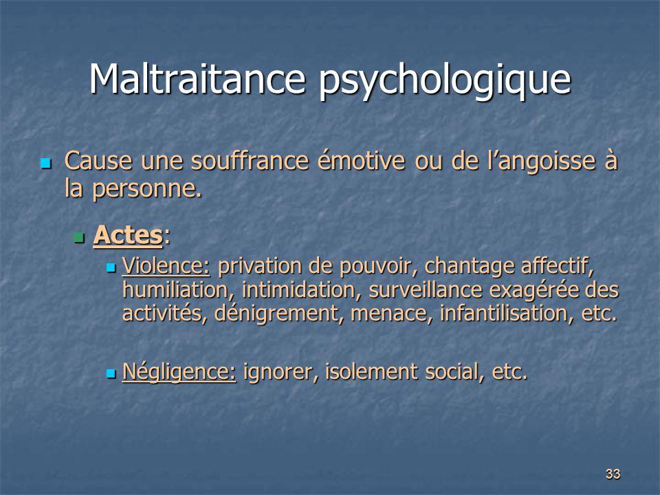 33 Maltraitance psychologique Cause une souffrance émotive ou de l'angoisse à la personne. Cause une souffrance émotive ou de l'angoisse à la personne