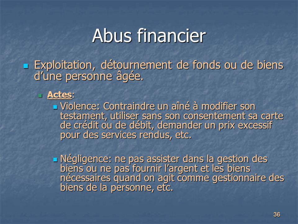 36 Abus financier Exploitation, détournement de fonds ou de biens d'une personne âgée. Exploitation, détournement de fonds ou de biens d'une personne