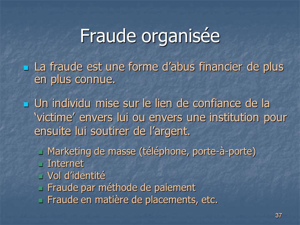 37 Fraude organisée La fraude est une forme d'abus financier de plus en plus connue. La fraude est une forme d'abus financier de plus en plus connue.