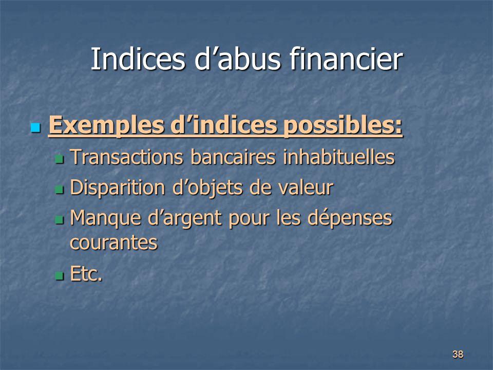 38 Indices d'abus financier Exemples d'indices possibles: Exemples d'indices possibles: Transactions bancaires inhabituelles Transactions bancaires in