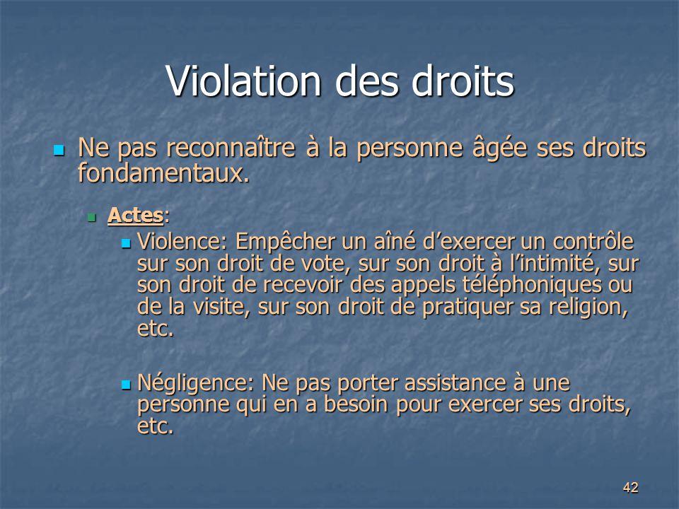 42 Violation des droits Ne pas reconnaître à la personne âgée ses droits fondamentaux. Ne pas reconnaître à la personne âgée ses droits fondamentaux.
