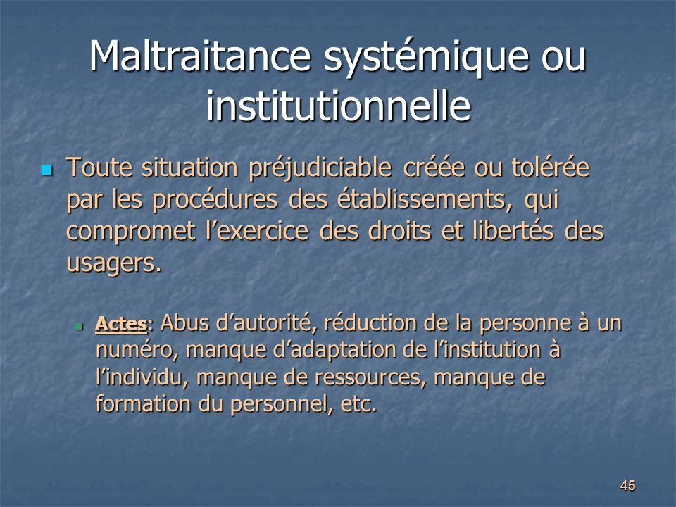 45 Maltraitance systémique ou institutionnelle Toute situation préjudiciable créée ou tolérée par les procédures des établissements, qui compromet l'e