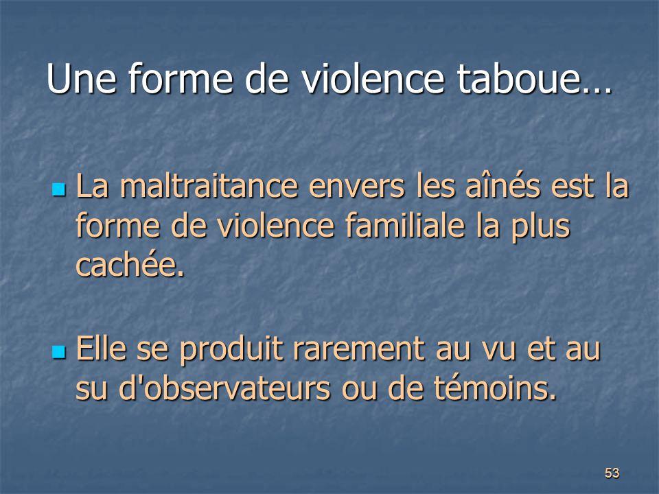 53 Une forme de violence taboue… La maltraitance envers les aînés est la forme de violence familiale la plus cachée. La maltraitance envers les aînés