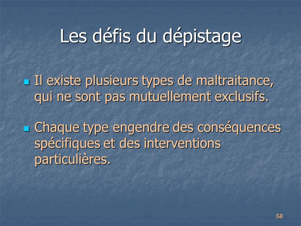 58 Les défis du dépistage Il existe plusieurs types de maltraitance, qui ne sont pas mutuellement exclusifs. Il existe plusieurs types de maltraitance