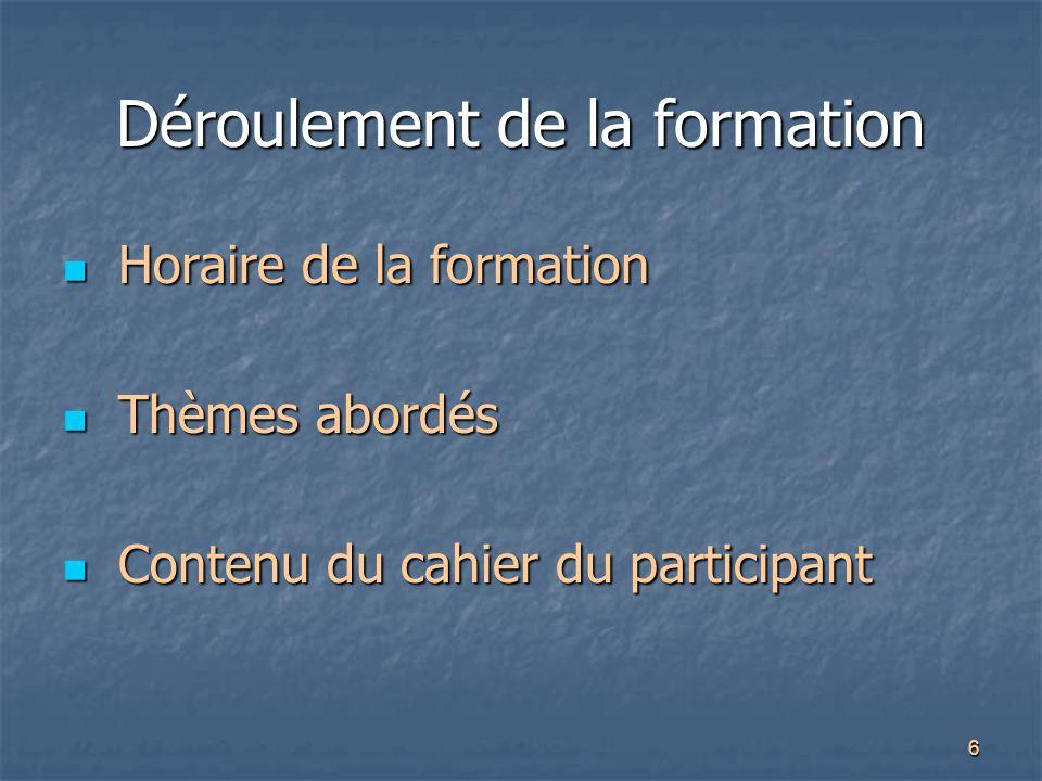 6 Déroulement de la formation Horaire de la formation Horaire de la formation Thèmes abordés Thèmes abordés Contenu du cahier du participant Contenu d