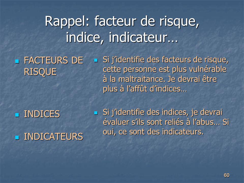 60 Rappel: facteur de risque, indice, indicateur… FACTEURS DE RISQUE FACTEURS DE RISQUE INDICES INDICES INDICATEURS INDICATEURS Si j'identifie des fac