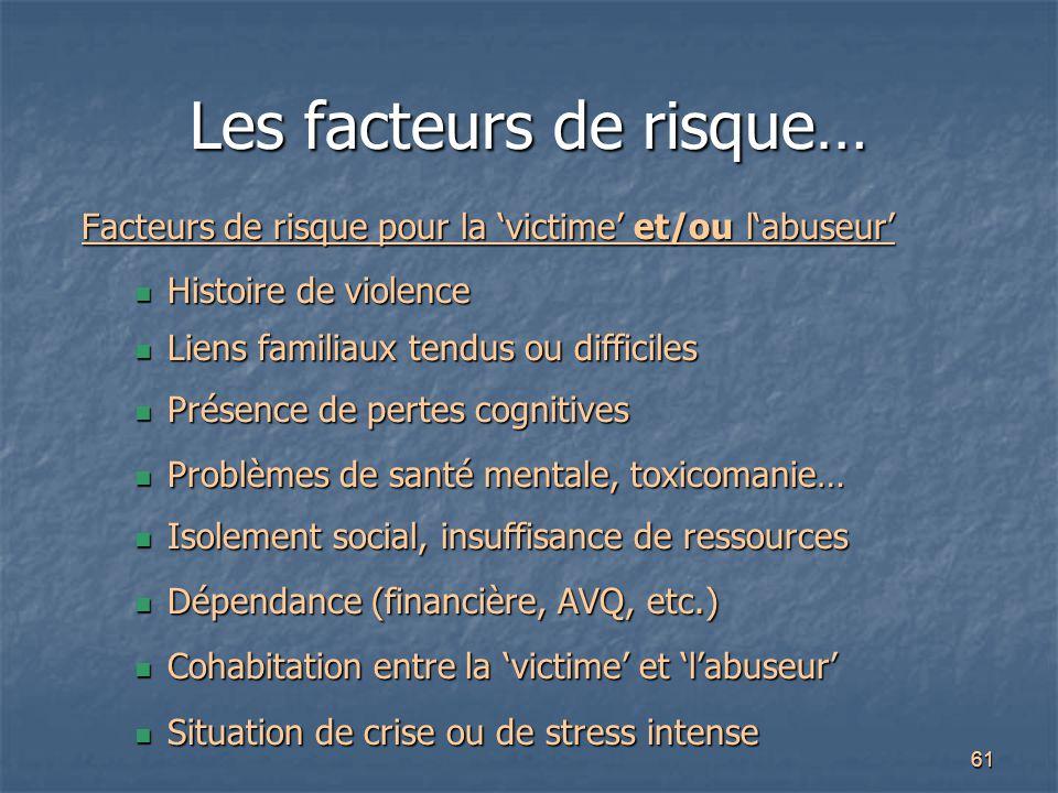 61 Les facteurs de risque… Facteurs de risque pour la 'victime' et/ou l'abuseur' Histoire de violence Histoire de violence Liens familiaux tendus ou d