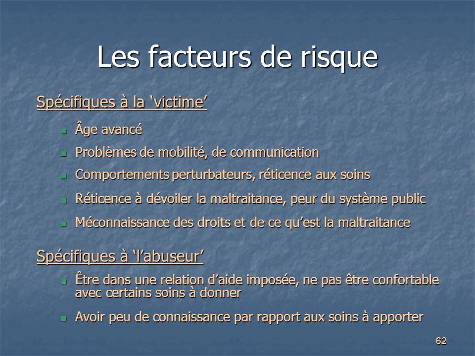 62 Les facteurs de risque Spécifiques à la 'victime' Âge avancé Âge avancé Problèmes de mobilité, de communication Problèmes de mobilité, de communica