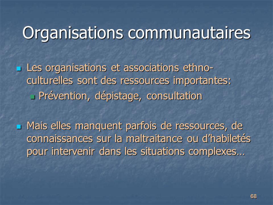 68 Organisations communautaires Les organisations et associations ethno- culturelles sont des ressources importantes: Les organisations et association