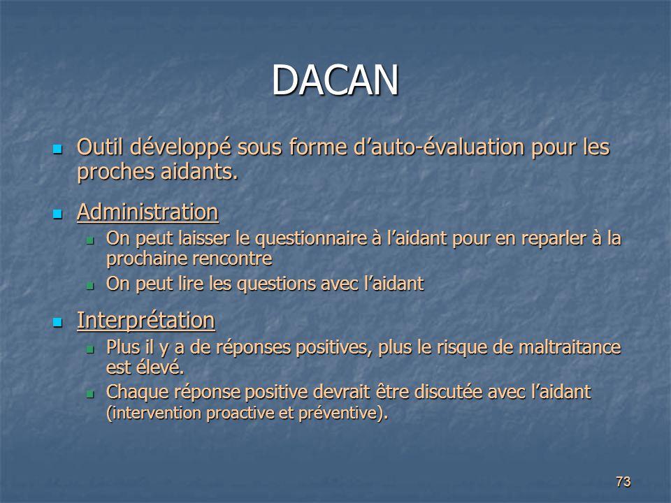 73 DACAN Outil développé sous forme d'auto-évaluation pour les proches aidants. Outil développé sous forme d'auto-évaluation pour les proches aidants.