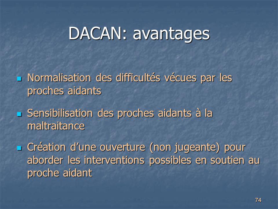 74 DACAN: avantages Normalisation des difficultés vécues par les proches aidants Normalisation des difficultés vécues par les proches aidants Sensibil