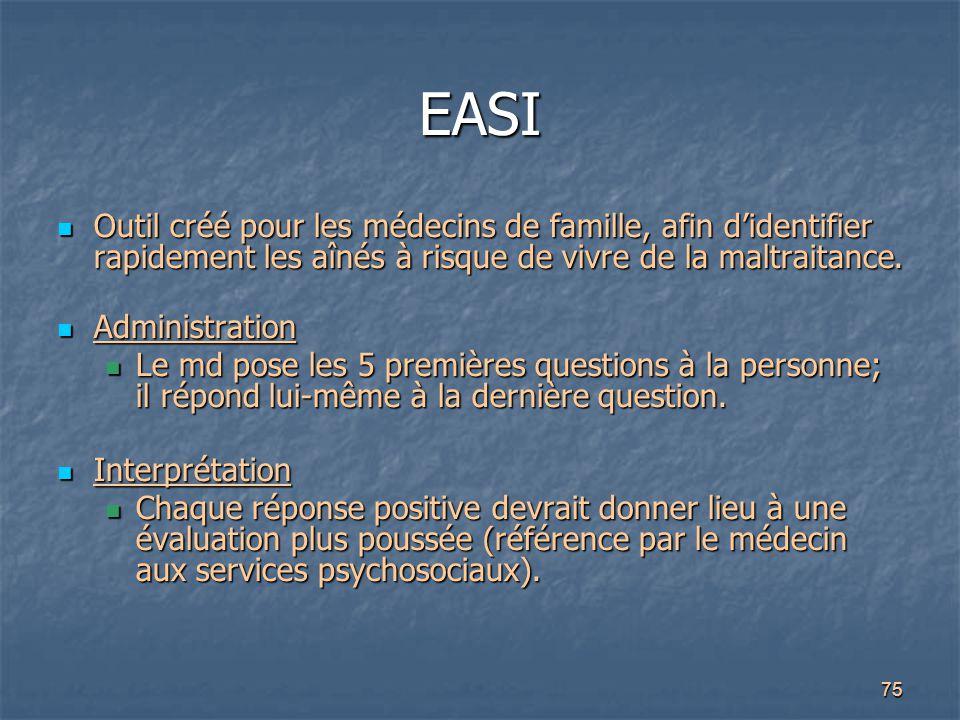 75 EASI Outil créé pour les médecins de famille, afin d'identifier rapidement les aînés à risque de vivre de la maltraitance. Outil créé pour les méde