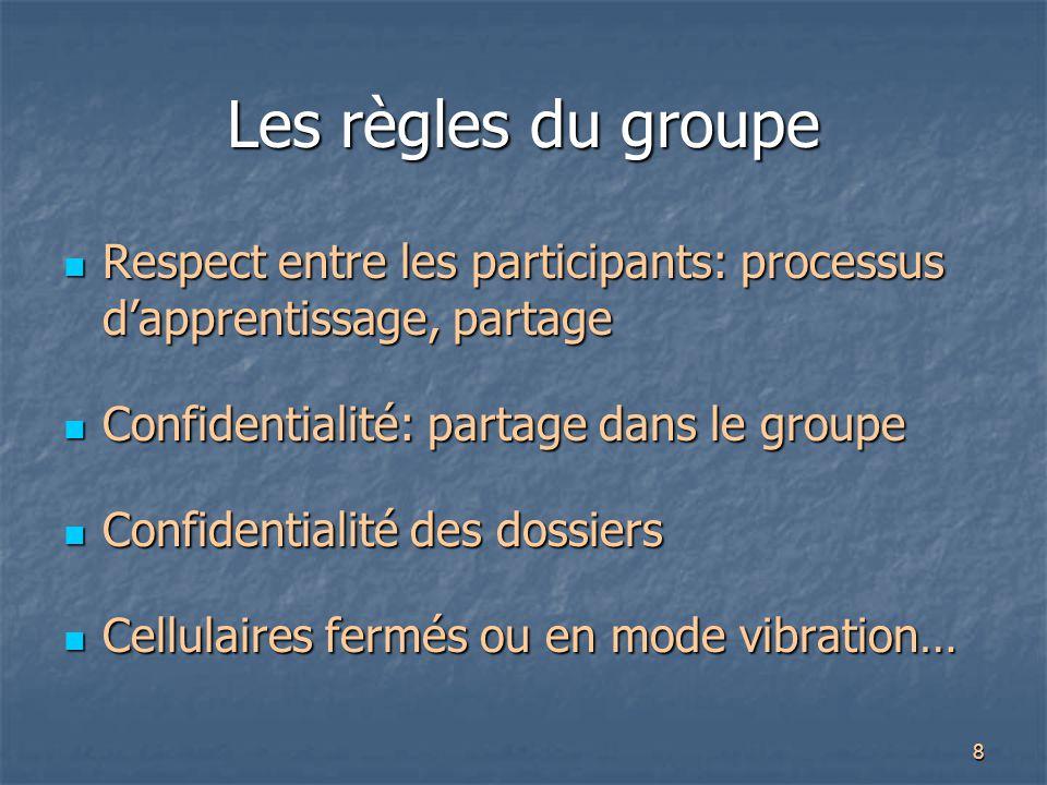 8 Les règles du groupe Respect entre les participants: processus d'apprentissage, partage Respect entre les participants: processus d'apprentissage, p