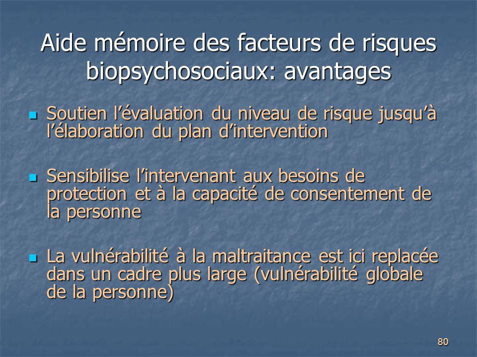 80 Aide mémoire des facteurs de risques biopsychosociaux: avantages Soutien l'évaluation du niveau de risque jusqu'à l'élaboration du plan d'intervent