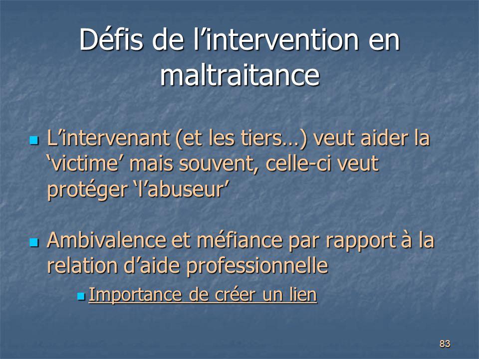 83 Défis de l'intervention en maltraitance L'intervenant (et les tiers…) veut aider la 'victime' mais souvent, celle-ci veut protéger 'l'abuseur' L'in