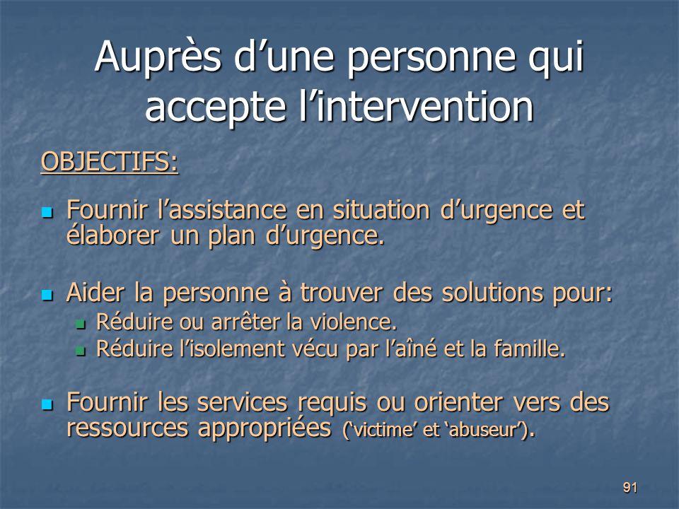 91 Auprès d'une personne qui accepte l'intervention OBJECTIFS: Fournir l'assistance en situation d'urgence et élaborer un plan d'urgence. Fournir l'as