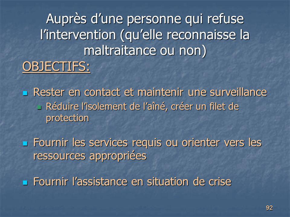 92 Auprès d'une personne qui refuse l'intervention (qu'elle reconnaisse la maltraitance ou non) OBJECTIFS: Rester en contact et maintenir une surveill