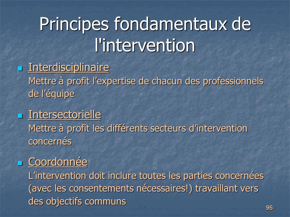 95 Principes fondamentaux de l'intervention Interdisciplinaire Mettre à profit l'expertise de chacun des professionnels de l'équipe Interdisciplinaire