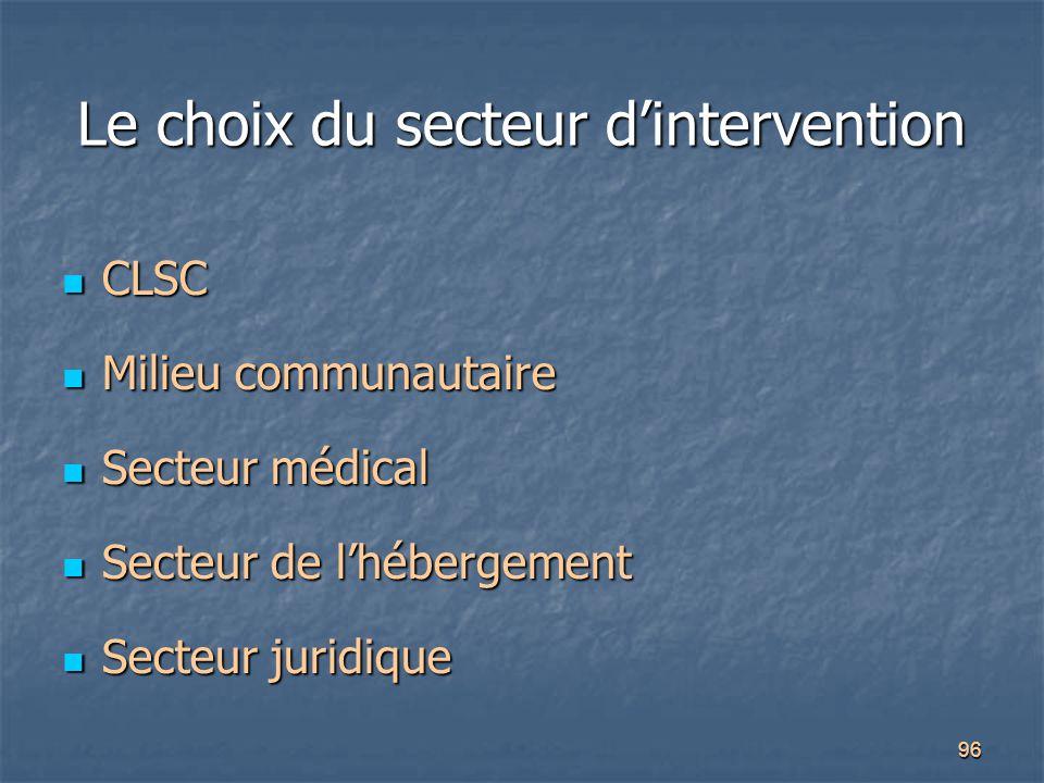 96 Le choix du secteur d'intervention CLSC CLSC Milieu communautaire Milieu communautaire Secteur médical Secteur médical Secteur de l'hébergement Sec
