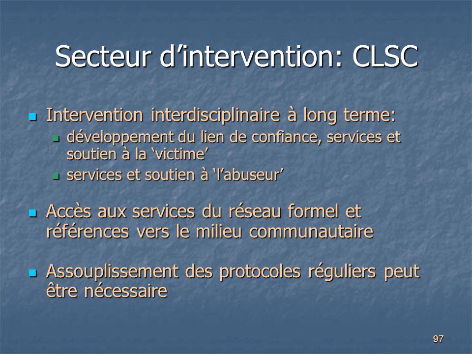 97 Secteur d'intervention: CLSC Intervention interdisciplinaire à long terme: Intervention interdisciplinaire à long terme: développement du lien de c