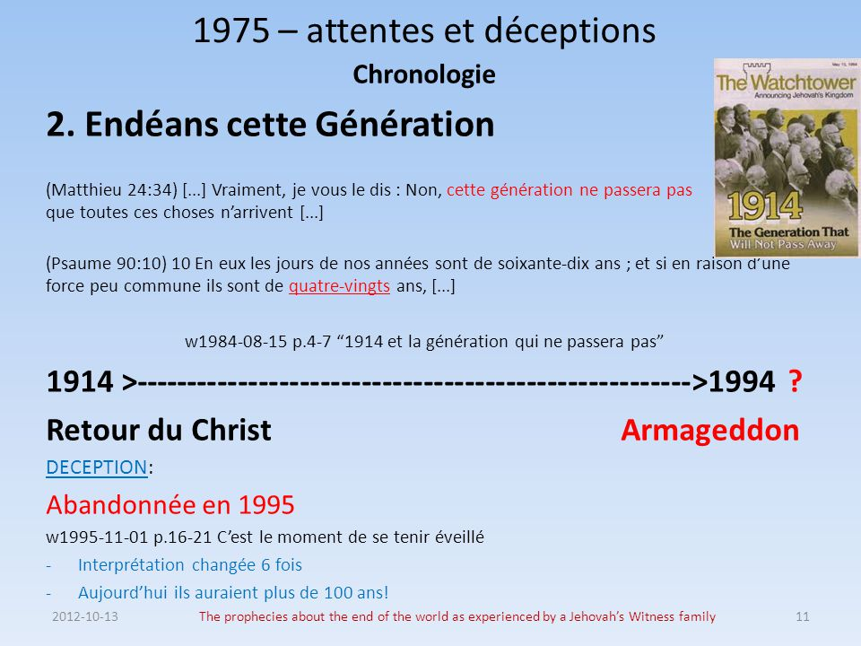 2012-10-13The prophecies about the end of the world as experienced by a Jehovah's Witness family11 1975 – attentes et déceptions Chronologie 2. Endéan