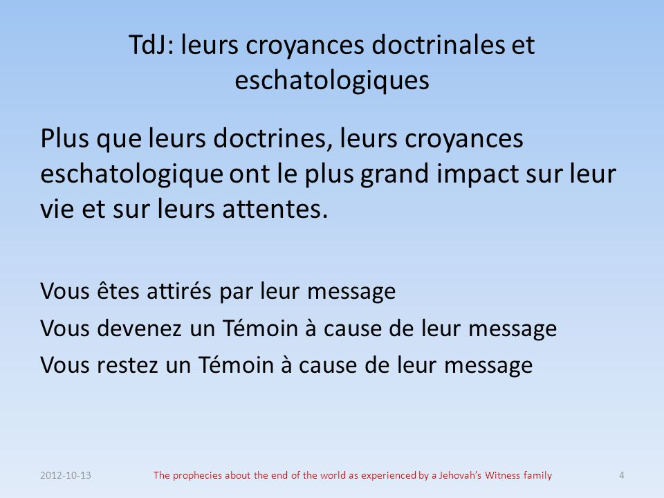 1975 – Le poids des mots 2012-10-13The prophecies about the end of the world as experienced by a Jehovah's Witness family25 *** km 6/74 pp.