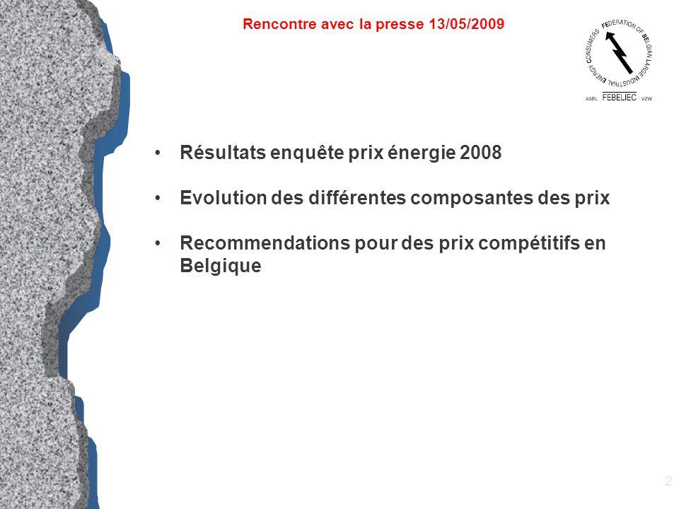 3 Résultats enquête prix énergie 2008 Evolution des différentes composantes des prix Recommendations pour des prix compétitifs en Belgique Rencontre avec la presse 13/05/2009