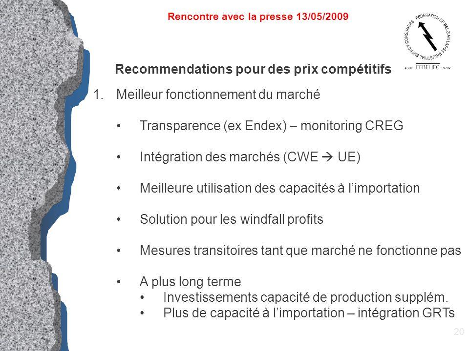 20 Rencontre avec la presse 13/05/2009 Recommendations pour des prix compétitifs 1.Meilleur fonctionnement du marché Transparence (ex Endex) – monitor