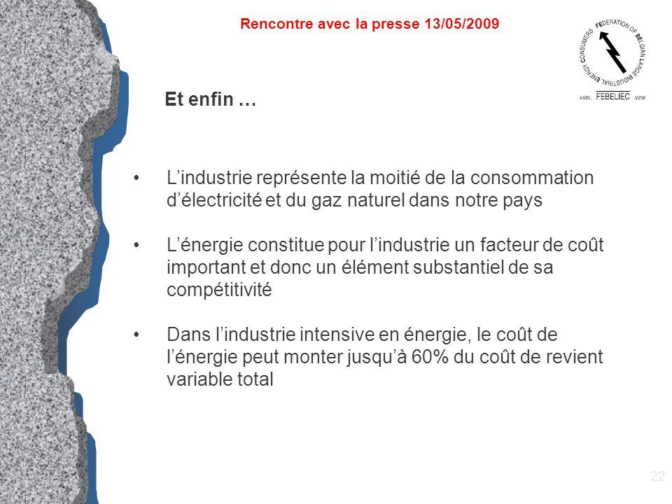 22 Rencontre avec la presse 13/05/2009 Et enfin … L'industrie représente la moitié de la consommation d'électricité et du gaz naturel dans notre pays