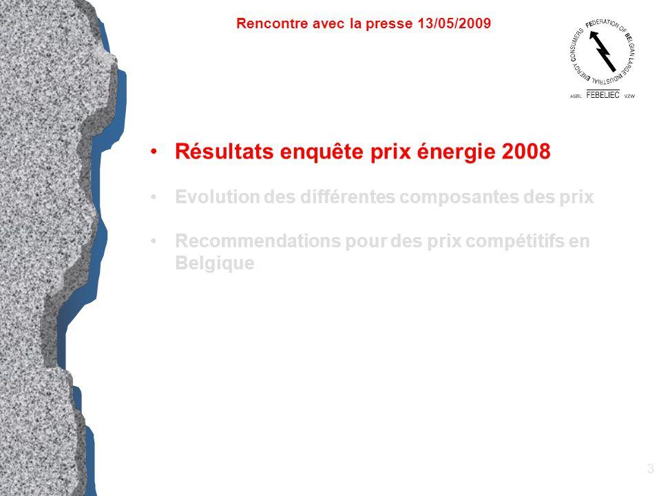 3 Résultats enquête prix énergie 2008 Evolution des différentes composantes des prix Recommendations pour des prix compétitifs en Belgique Rencontre a