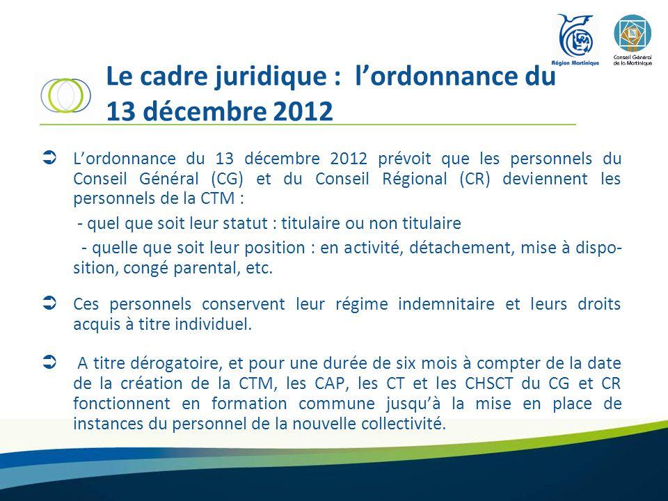 Le cadre juridique : l'ordonnance du 13 décembre 2012  L'ordonnance du 13 décembre 2012 prévoit que les personnels du Conseil Général (CG) et du Conseil Régional (CR) deviennent les personnels de la CTM : - quel que soit leur statut : titulaire ou non titulaire - quelle que soit leur position : en activité, détachement, mise à dispo- sition, congé parental, etc.