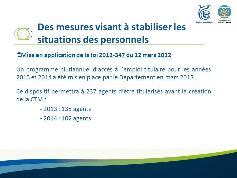 Des mesures visant à stabiliser les situations des personnels  Mise en application de la loi 2012-347 du 12 mars 2012 Un programme pluriannuel d'accès à l'emploi titulaire pour les années 2013 et 2014 a été mis en place par le Département en mars 2013.