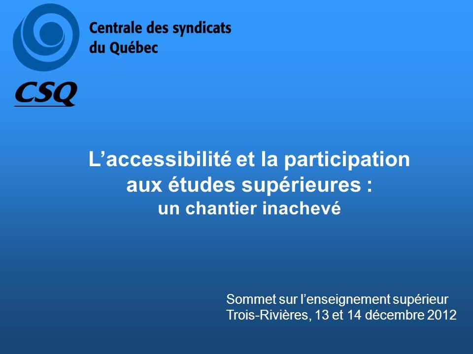Plan de la présentation Sommet sur l'enseignement supérieur Trois-Rivières, 13 et 14 décembre 2012 1.Contexte actuel 2.Levée des obstacles scolaires, financiers et géographiques à l'accessibilité 3.Favoriser la participation et la réussite aux études supérieures 4.Trois constats