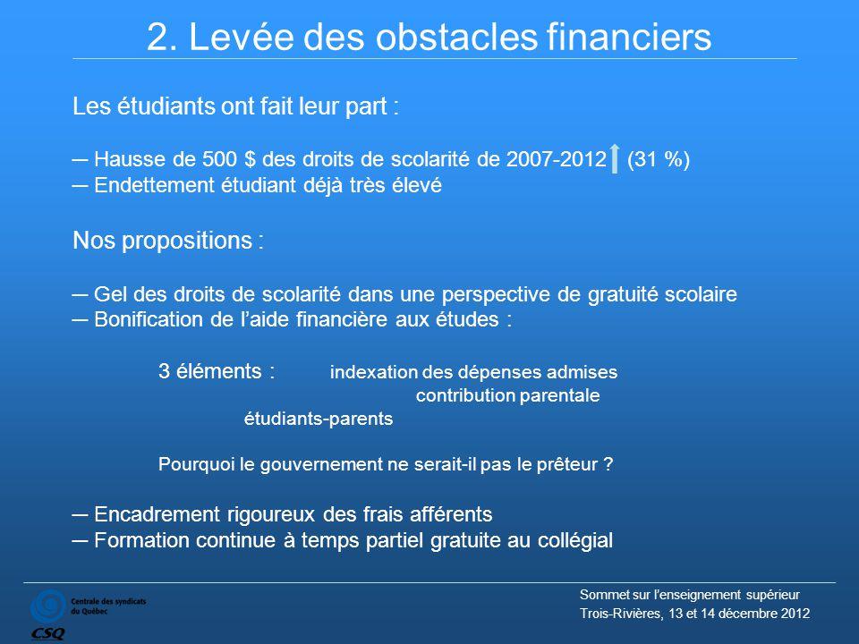 2. Levée des obstacles financiers Les étudiants ont fait leur part : ─ Hausse de 500 $ des droits de scolarité de 2007-2012 (31 %) ─ Endettement étudi