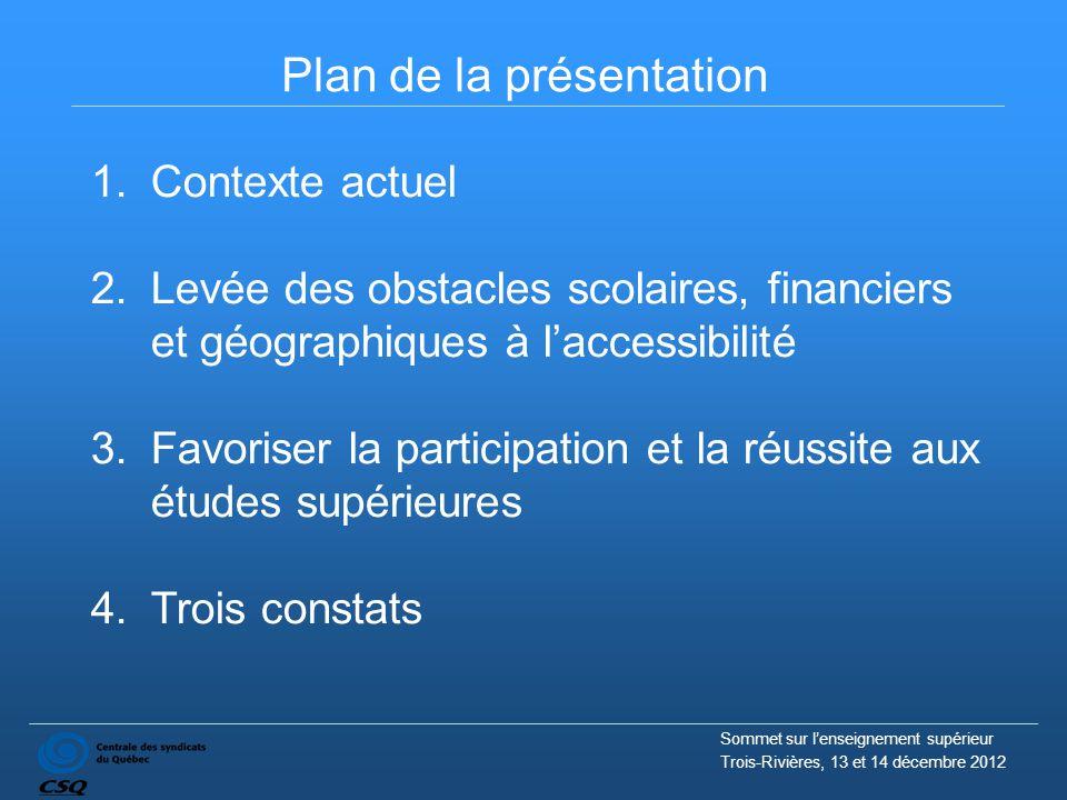 Plan de la présentation Sommet sur l'enseignement supérieur Trois-Rivières, 13 et 14 décembre 2012 1.Contexte actuel 2.Levée des obstacles scolaires,