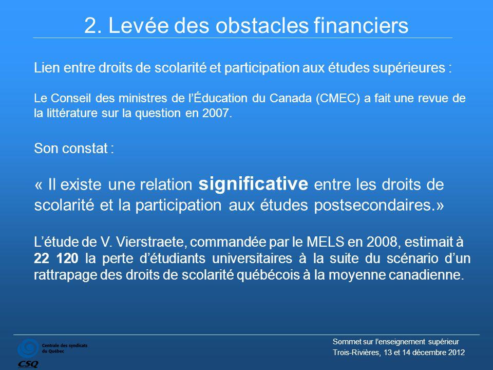 2. Levée des obstacles financiers Lien entre droits de scolarité et participation aux études supérieures : Le Conseil des ministres de l'Éducation du