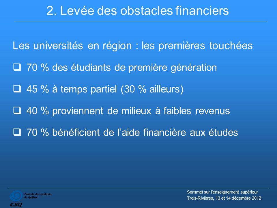 2. Levée des obstacles financiers Les universités en région : les premières touchées  70 % des étudiants de première génération  45 % à temps partie
