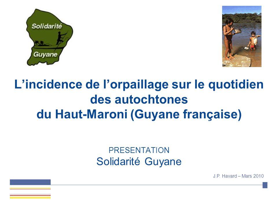 SUPPORT BO L'incidence de l'orpaillage sur le quotidien des autochtones du Haut-Maroni (Guyane française) PRESENTATION Solidarité Guyane J.P.