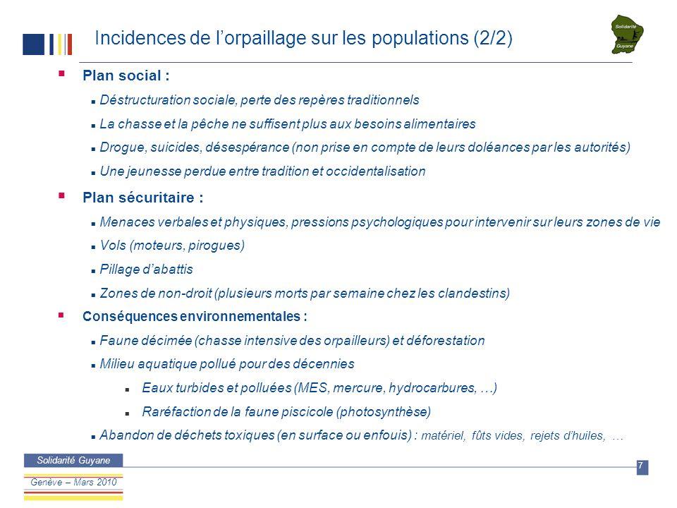DSM/IB Confidentie l Solidarité Guyane 8 Confidentiel Genève – Mars 2010 Niveaux de mercure à Cayodé de 2004 à 2009 Enfants (Age ≤ 7)Nb Mini Hg ( µ g/g) Maxi Hg ( µ g/g) Moyenne Hg ( µ g/g) > 10 µ g/g (limite WHO)* % Nb> WHO > 4,4 µ g/g (limite EFSA) % Nb> EFSA* Cayode 2004137,3821,9711,5164613100 Cayode 2005166,4226,612,41127516100 Cayode 2006223138,919411987 Cayode 2007153,414,38,335331387 Cayode 2008174,325,59,165291694 Cayode 2009204,724,611,92136520100 *EFSA = European Food Safety Authority *WHO = World Health Organization Adultes (Age > 14)Nb Mini Hg ( µ g/g) Maxi Hg ( µ g/g) Moyenne Hg ( µ g/g) > 10 µ g/g (limite WHO)* % Nb> WHO > 4,4 µ g/g (limite EFSA) % Nb> EFSA* Cayode 2004246,421,1312,81187524100 Cayode 2005166,5925,8213,1106216100 Cayode 2006174,313,511,7610591695 Cayode 200796,520,711,846669100 Cayode 2008124,620,711,4586612100 Cayode 2009511,421,916,5651005