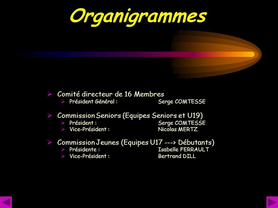 Organigrammes  Comité directeur de 16 Membres  Président Général : Serge COMTESSE  Commission Seniors (Equipes Seniors et U19)  Président : Serge