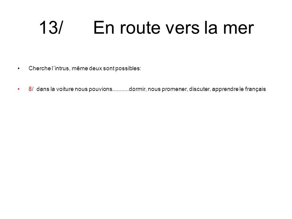 13/ En route vers la mer Cherche l´intrus, même deux sont possibles: 8/ dans la voiture nous pouvions...........dormir, nous promener, discuter, apprendre le français