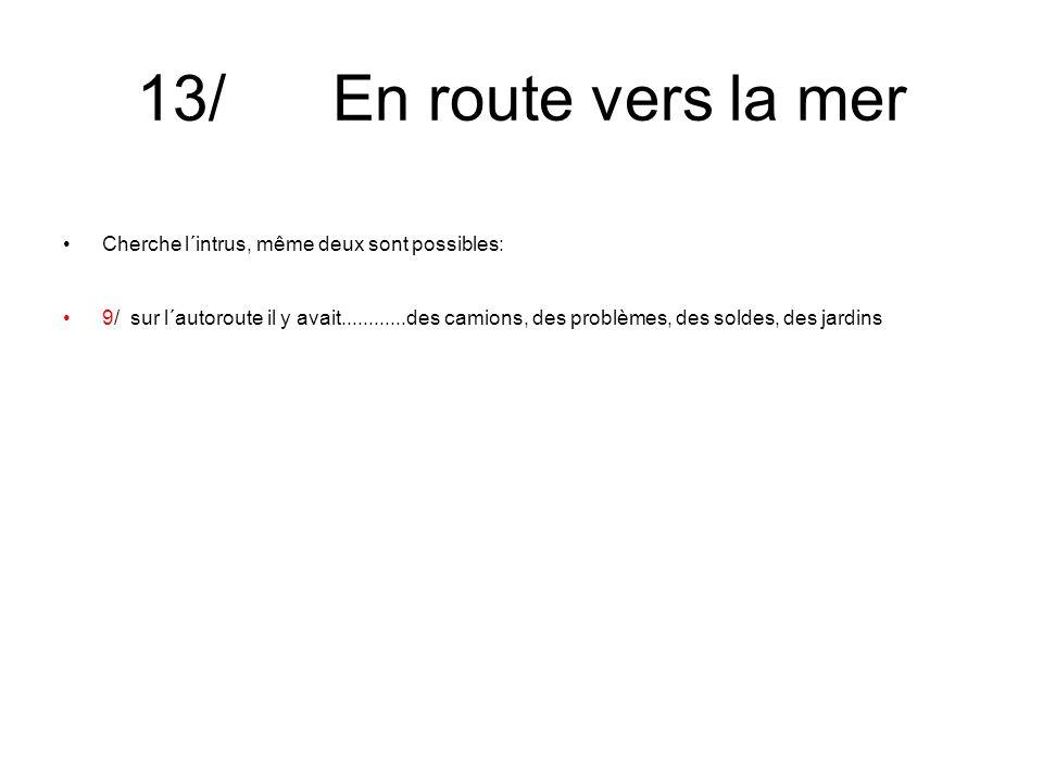 13/ En route vers la mer Cherche l´intrus, même deux sont possibles: 9/ sur l´autoroute il y avait............des camions, des problèmes, des soldes, des jardins