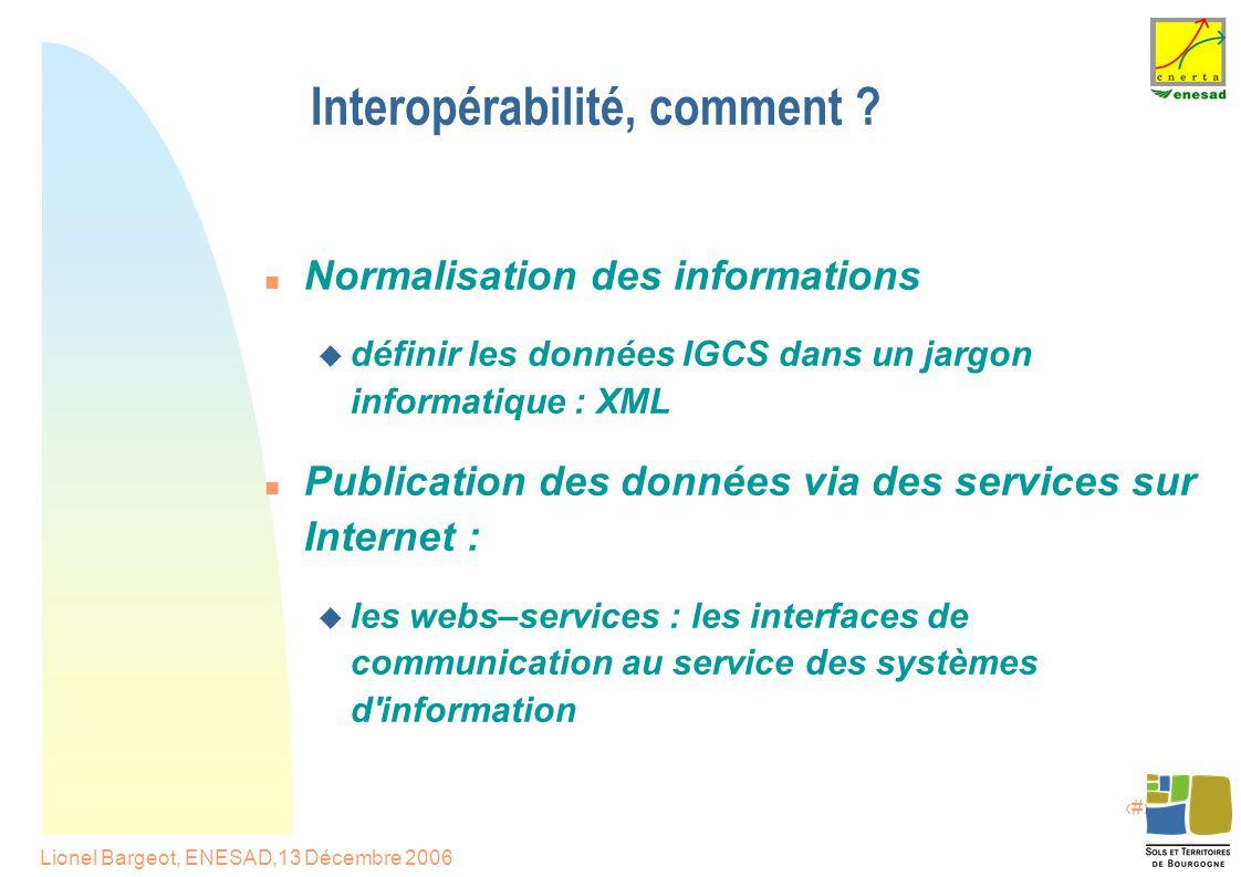 10 Lionel Bargeot, ENESAD,13 Décembre 2006 Interopérabilité, comment .