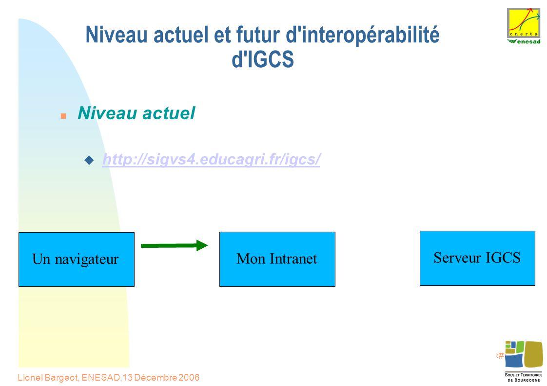 12 Lionel Bargeot, ENESAD,13 Décembre 2006 Niveau actuel et futur d interopérabilité d IGCS Niveau actuel  http://sigvs4.educagri.fr/igcs/http://sigvs4.educagri.fr/igcs/ Serveur IGCS Mon Intranet Un navigateur