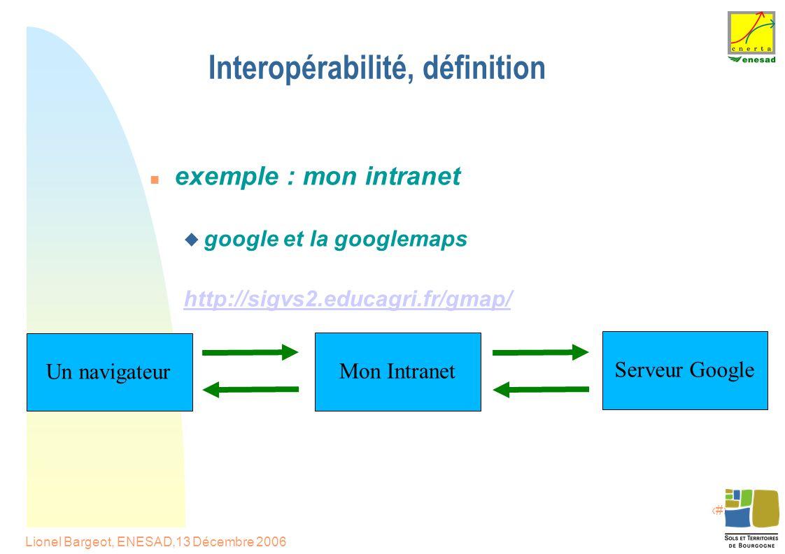 6 Lionel Bargeot, ENESAD,13 Décembre 2006 Interopérabilité, définition exemple : mon intranet  google et la googlemaps http://sigvs2.educagri.fr/gmap/ Serveur Google Mon Intranet Un navigateur