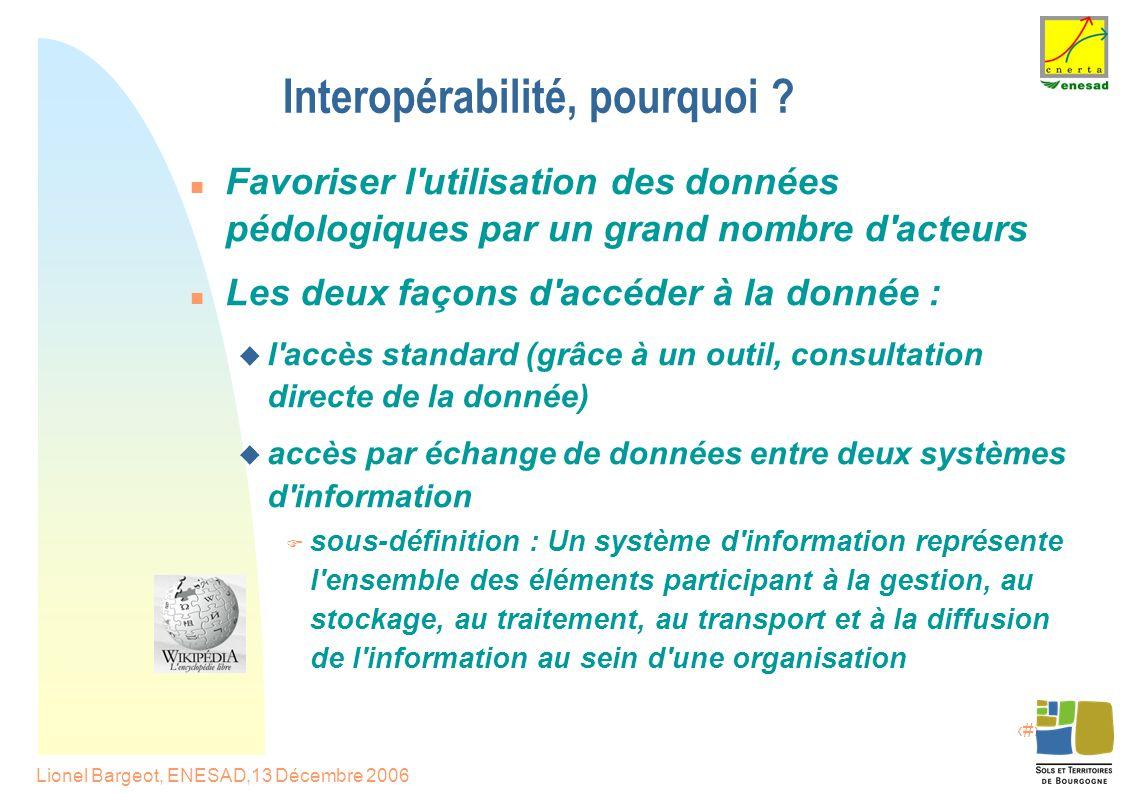7 Lionel Bargeot, ENESAD,13 Décembre 2006 Interopérabilité, pourquoi .