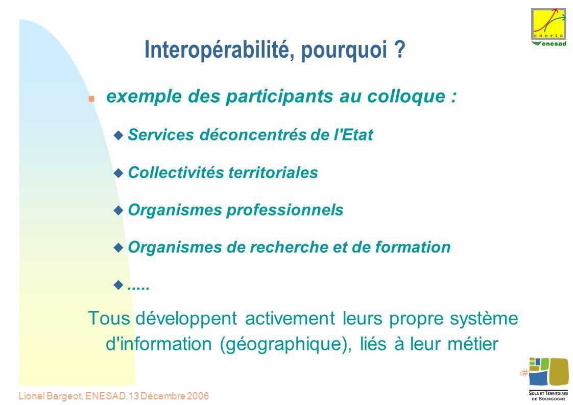 8 Lionel Bargeot, ENESAD,13 Décembre 2006 Interopérabilité, pourquoi .